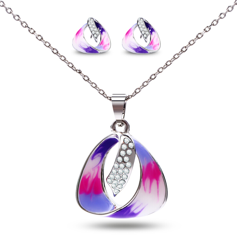 Sparkling Jewelry Set Stylish Necklace Earrings for Women