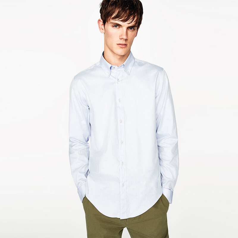 ZARA MAN Shirt With Contrasting Ribbon - Sky Blue [S]