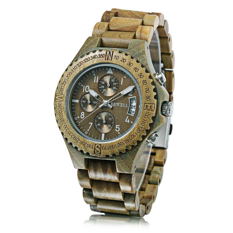 Bewell ZS - W115A Wood Men Watch Luminous Pointer Wooden Band Date Wristwatch