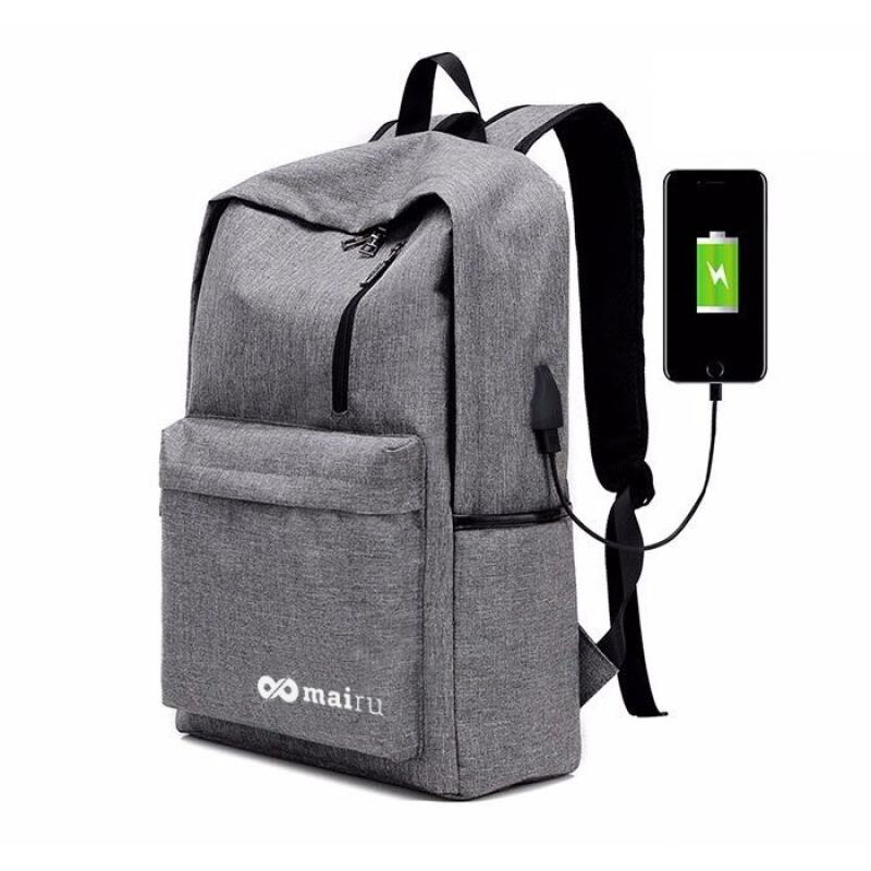 Mairu 1711 Tas Ransel Laptop Backpack Support USB Port Charger Anti Air Grey