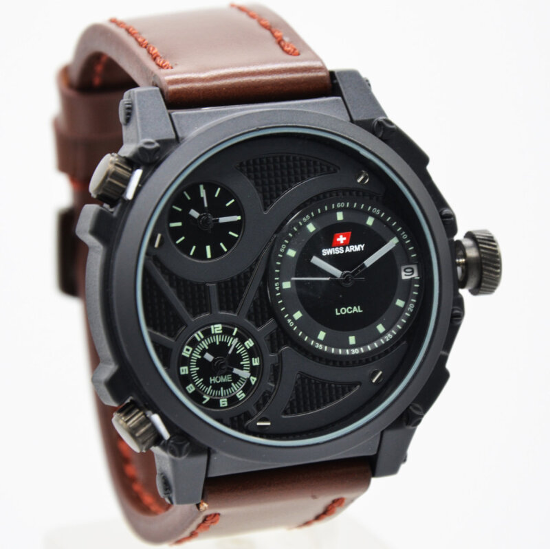 Swiss Army D48H200SA3Time Jam Tangan Pria Leather Strap CKTT Hitam Black