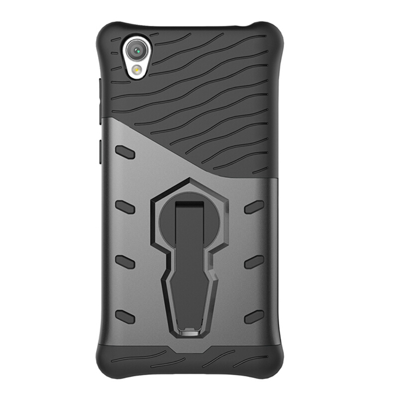Smatton Case hp Sony Xperia L1 Case Armor Shockproof Hybrid Hard Soft Silicone 360 Degree Rotation Phone Cover shell Black