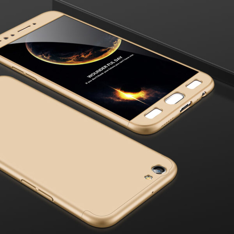 Jual Keymao Oppo A83 Case 360 Degree Full Protection Hard PC 3 in 1 Fundas Coque Back Cover Gold Keymao official store