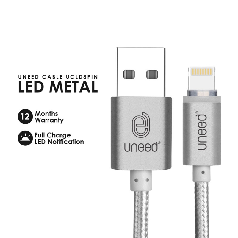 UNEED LED Cable Data Lightning USB Latest iOS Compatible - UCLD8PIN - Silver