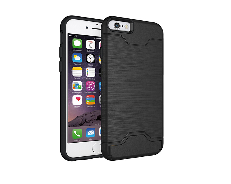 Smatton Phone Case Apple iphone 6 Plus 6s Plus Anti-knock Case Brushed PC + TPU Silicon Back Cover With card slot kickstand Black