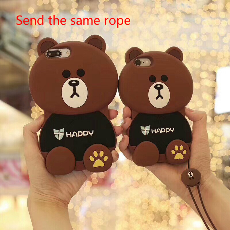 VEN Fashion For Apple iPhone 6/6S Case Soft Silicon Cute 3D Brown Bear From New York with Red Heart Cartoon Phone Cases Brown