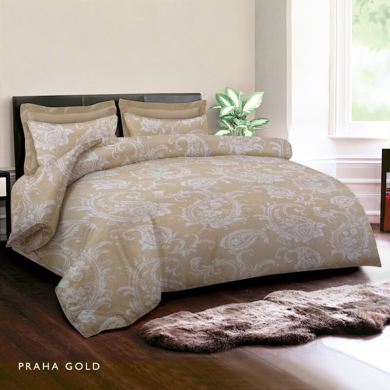 KING RABBIT Bedcover Double Motif Praha Gold / 230 x 230cm Gold