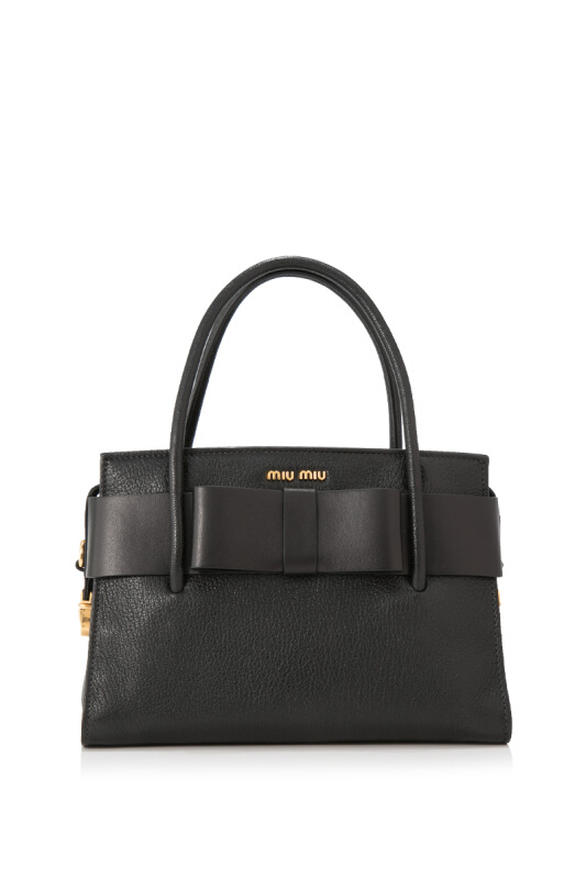 Miu Miu Madras Bauletto Fiocco Handbag With Bow