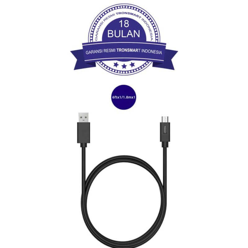 Tronsmart CC04 Type-C Male to Type-A 2.0 Male Cable 1M - Black/Hitam