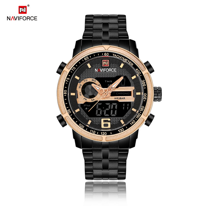 NAVIFORCE Luxury Brand Full Steel Watch Men Quartz Digital LED Clock Black-Gold