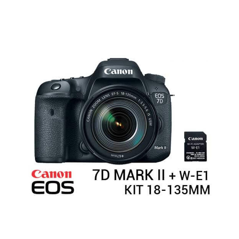 Jual Canon EOS 7D Mark II Kit 18-135mm NANO USM with WIFI Adapter W-E1 Black Tokocamzone