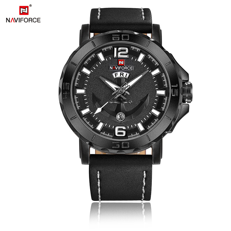 NAVIFORCE Luxury Brand Sport Watches Quartz Leather Waterproof Wrist Watch 9122 Black-White