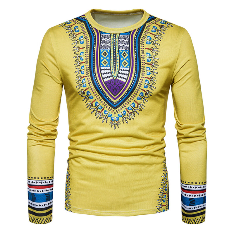 Fashionmall Dashiki Long Sleeve T-shirt Yellow M