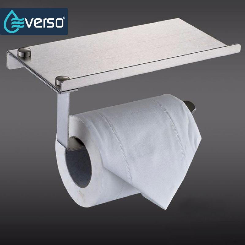 Household Wall-mounted Stainless Steel toilet Paper Roll Towel Holder Phone Rack