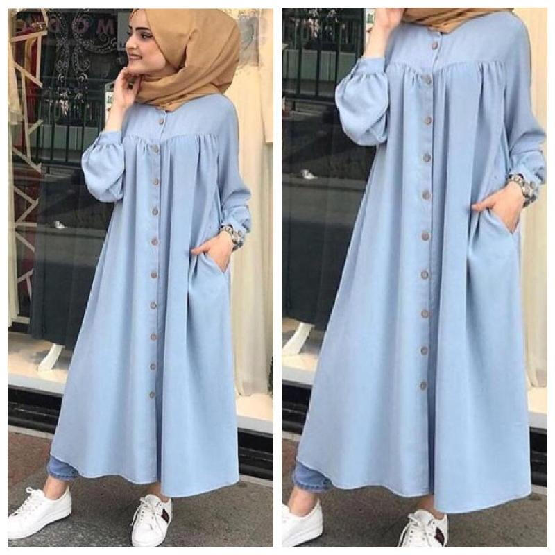 DAMAI FASHION BAJU WANITA GAMIS KANAYA FULL KANCING Light Blue XL