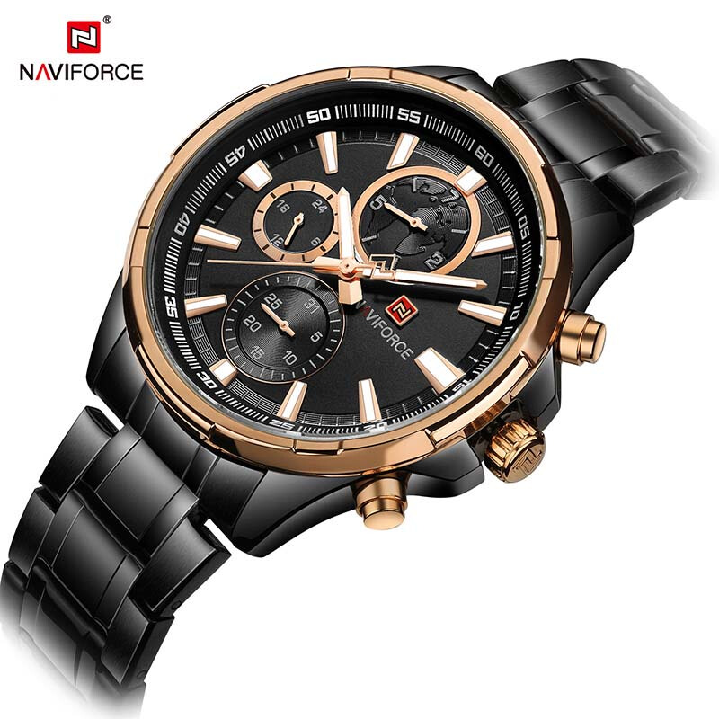 NAVIFORCE Men Watch Date Week Sport Mens Watches Top Brand Luxury Military Business Stainless Steel Quartz Male Watch Black-Gold