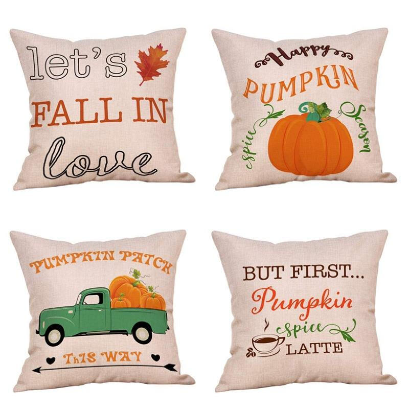 Jual Refurbishhouse 4 Pack Happy Fall Yall Throw Pillow Case Bycicle Maple Leaves Deer Fox Rustic Farmhouse Autumn Decorative Cushion Cover 18 X 18 Inch Cotton Linen Truck Lecheya