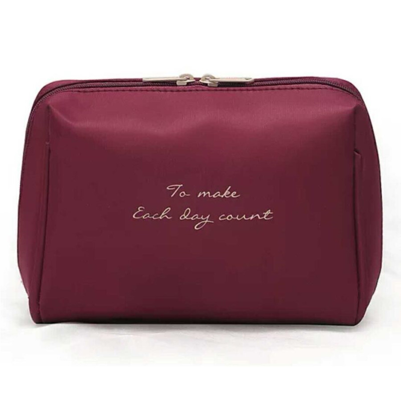 Jual FIRST PROJECT - Tas Kosmetik Mini Polos Cosmetic Make Up Pouch Purse Bag Maroon FIRST PROJECT