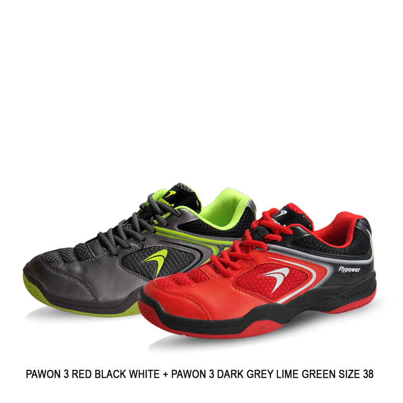 Jual Flypower Bundling Pawon 3 Sepatu Badminton Paket - (Pawon 3 Red Black  White + Pawon 3 Dark Grey Lime Green Black) Others EUR 38 flypower e525be3b17