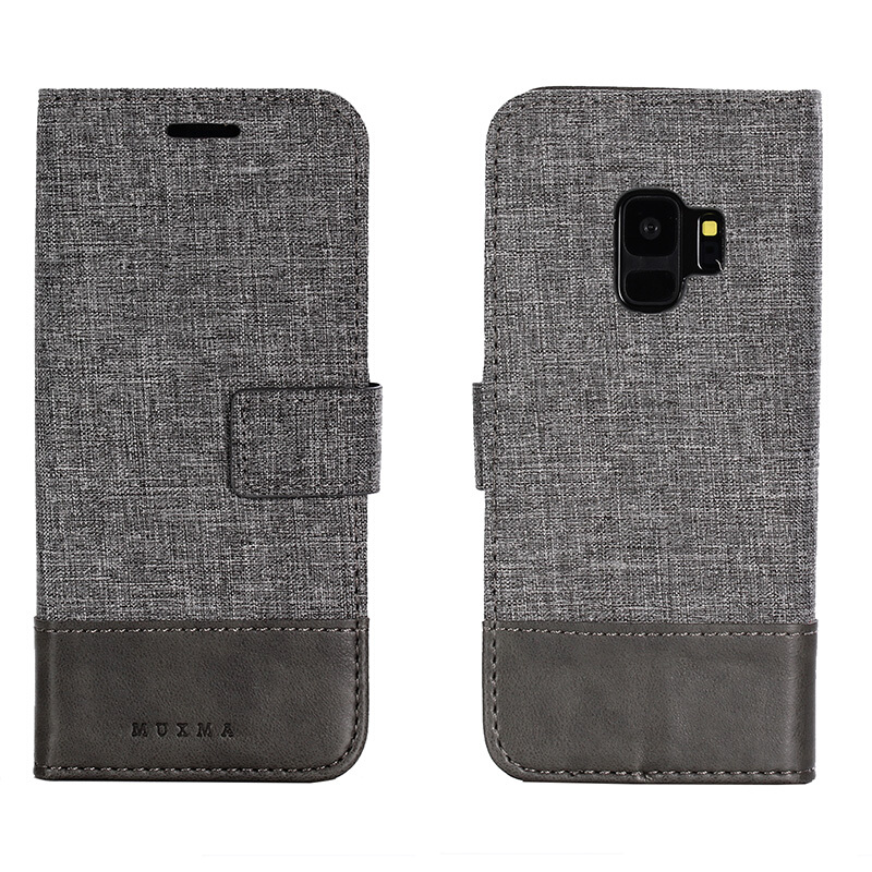 DELIVE Samsung Galaxy S9 plus Case Canvas Stitching Leather Cover Flip Waller Card Slot Holster Phone Cover Grey