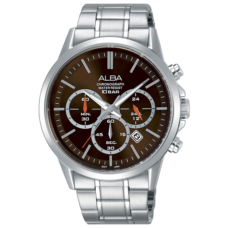 Jual ALBA Chronograph AT3B93 Jam Tangan Pria Stainless Steel Quartz Movement - Brown TOKO GENESIS
