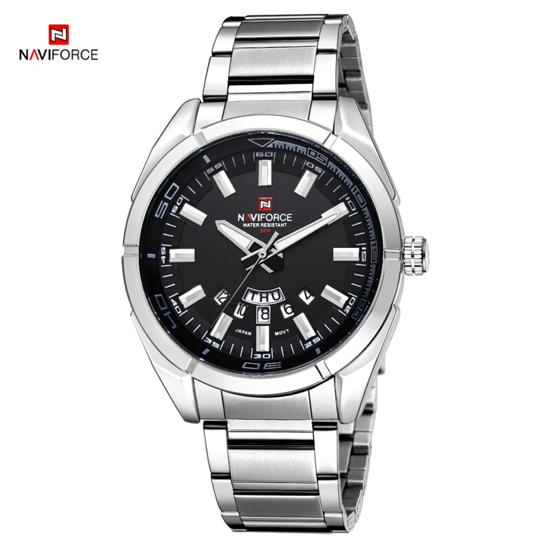 NAVIFORCE Brand 9038 Men Quartz Watches 30M waterproof stainless steel band auto date wristwatch Silver-Black