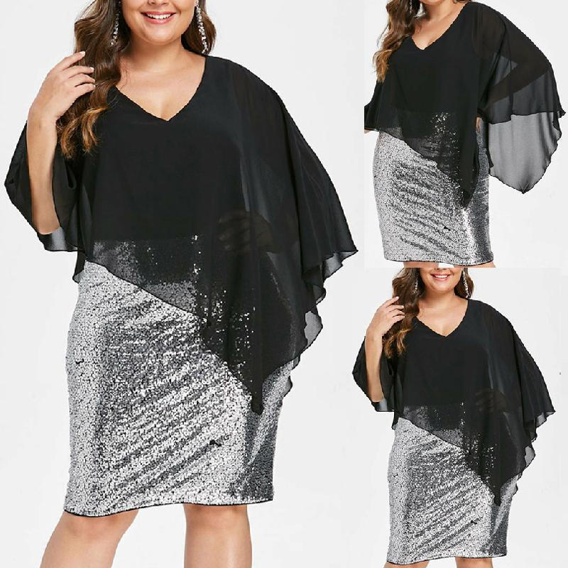 Fashion Women Plus Size V-Neck Overlay Sequin Bodycon Asymmetric Party Dress_Black_XXXXXL