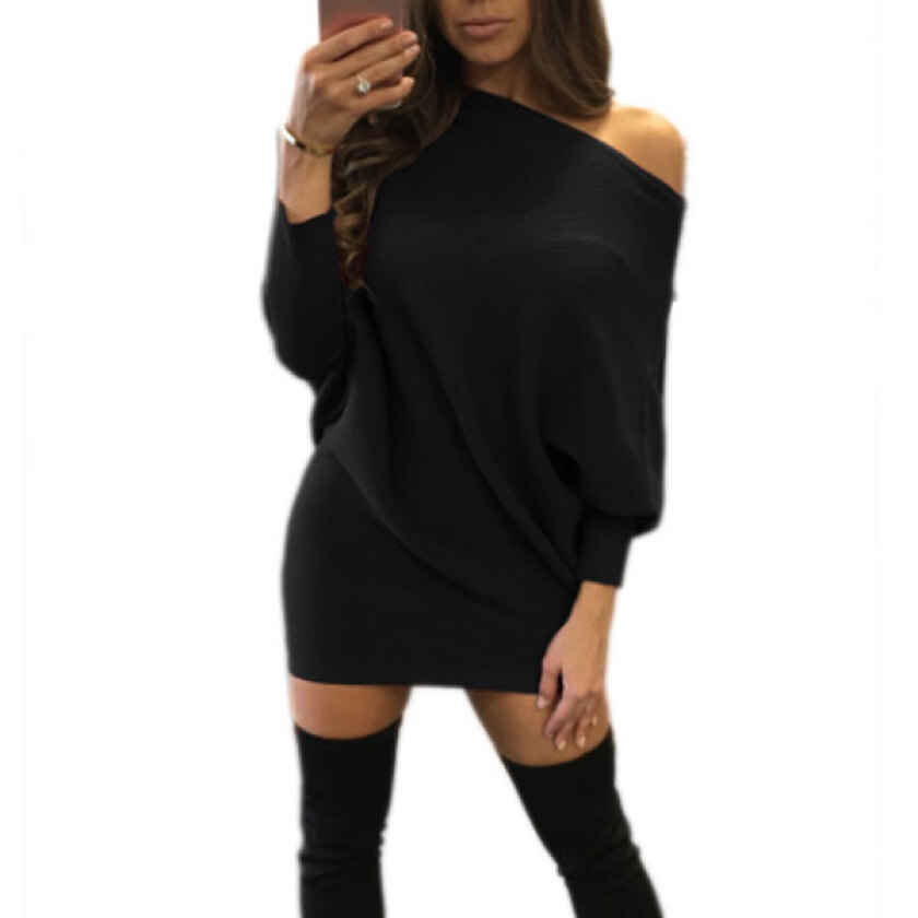 Women's Party Black Slash Neck Solid Above KneeMini Long Sleeve Dress