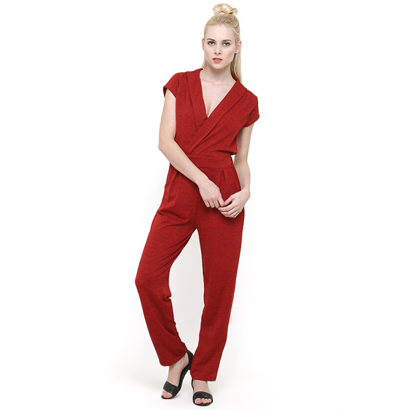 Shop At Banana Red Rainbow Jumpsuit - Red [One Size]