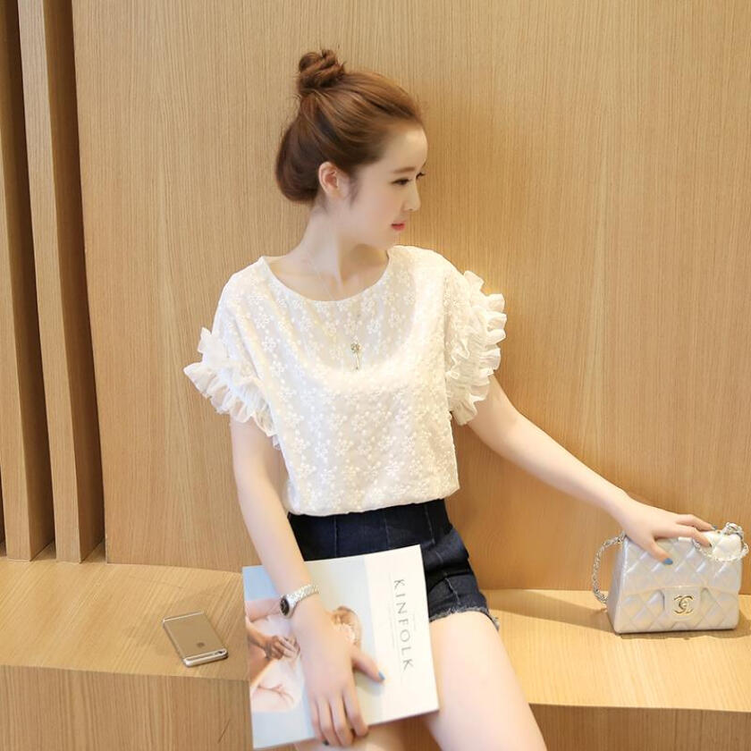 new arrival sweet round collar delicate hook flower fabric short sleeve T-shirt