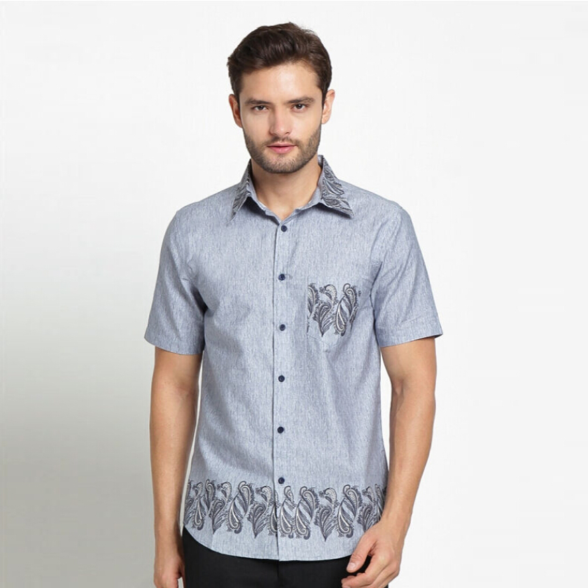 A&D Mens Casual Batik Ms 801 - Grey (S)