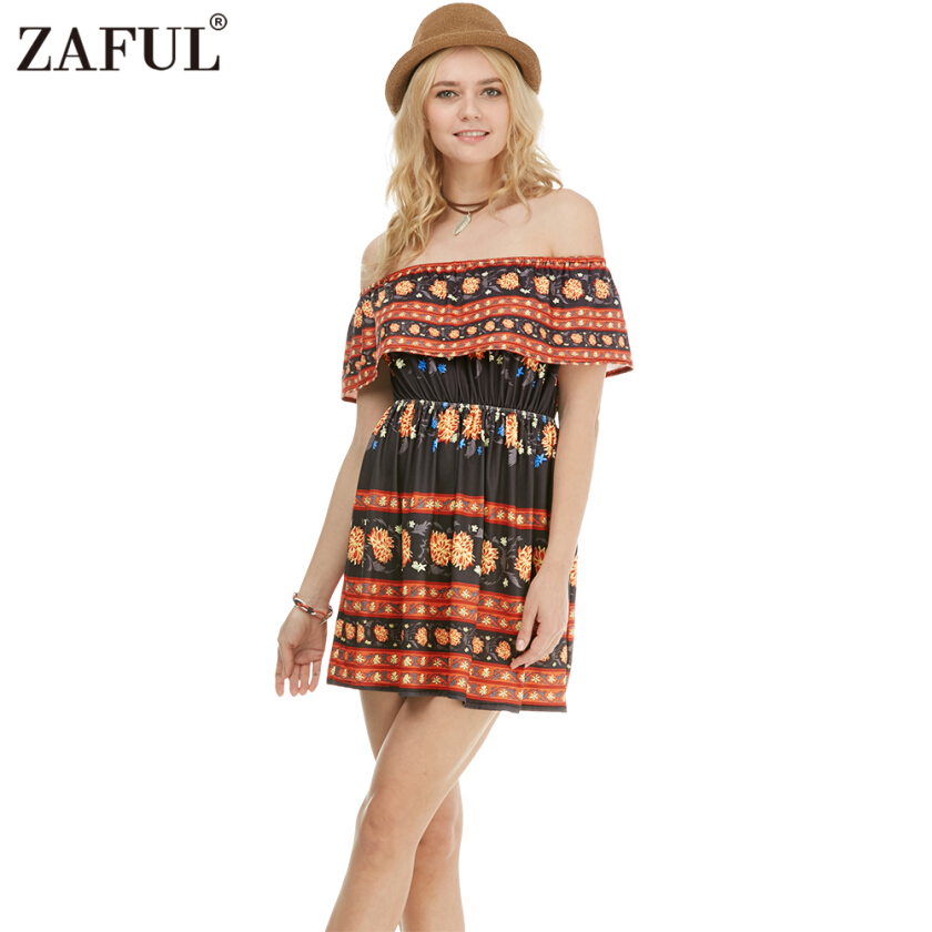 Zaful Woman Dress Bohemian Floral Printing Ethnic Style Off-the-shoulder Flounce at Top Design Skater Dress