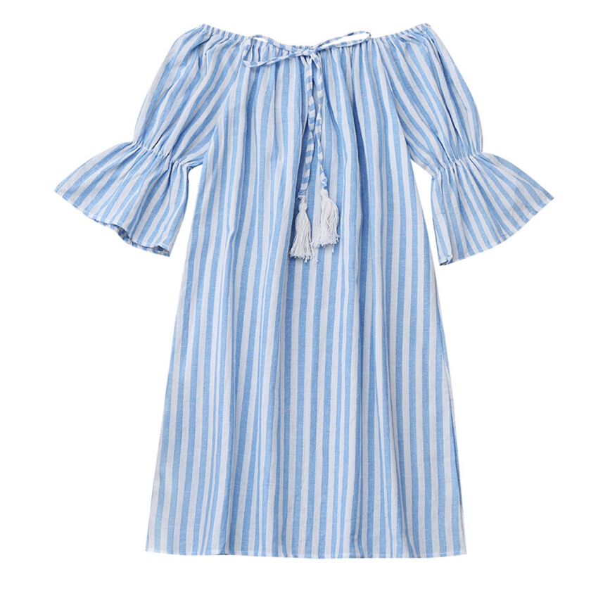 Drawstring Off Shoulder Striped Dress
