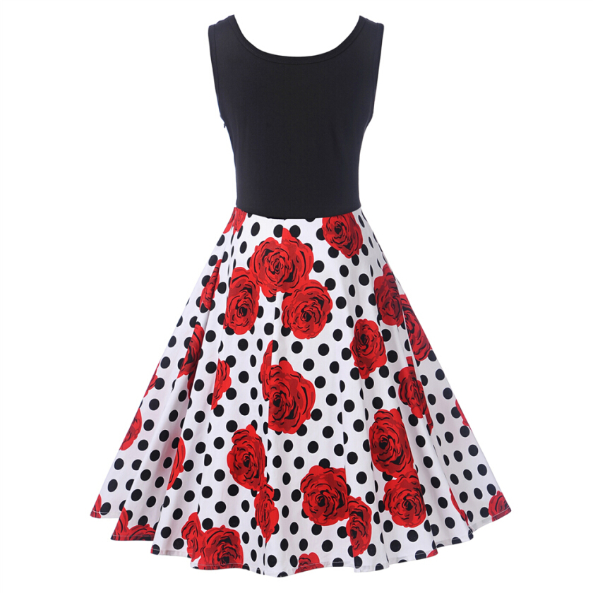 Zaful Vintage Style Woman Dress Summer And Autumn Polka Dot/Floral Print Scoop Neck And Sleeveless Design Fit&flare Dress