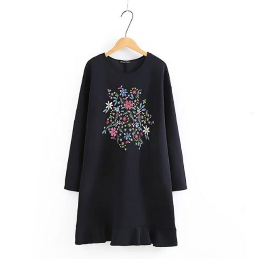Women's Trendy O-Neck Print Above KneeMini Long Sleeve A-Line Dress