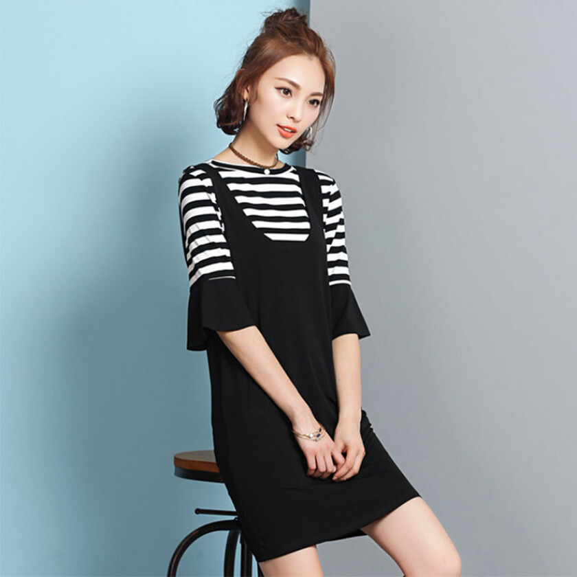 new arrival fashion cross stripe flare sleeve braces two-piece dress
