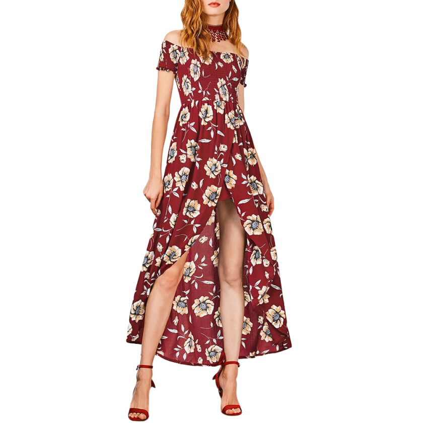 Shirred Waist Floral Asymmetric Maxi Dress