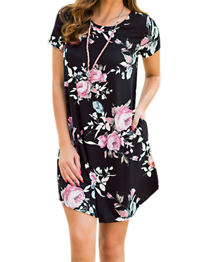 Gamiss Women's Floral Print Short Sleeve Casual Loose T-Shirt Mini Dress