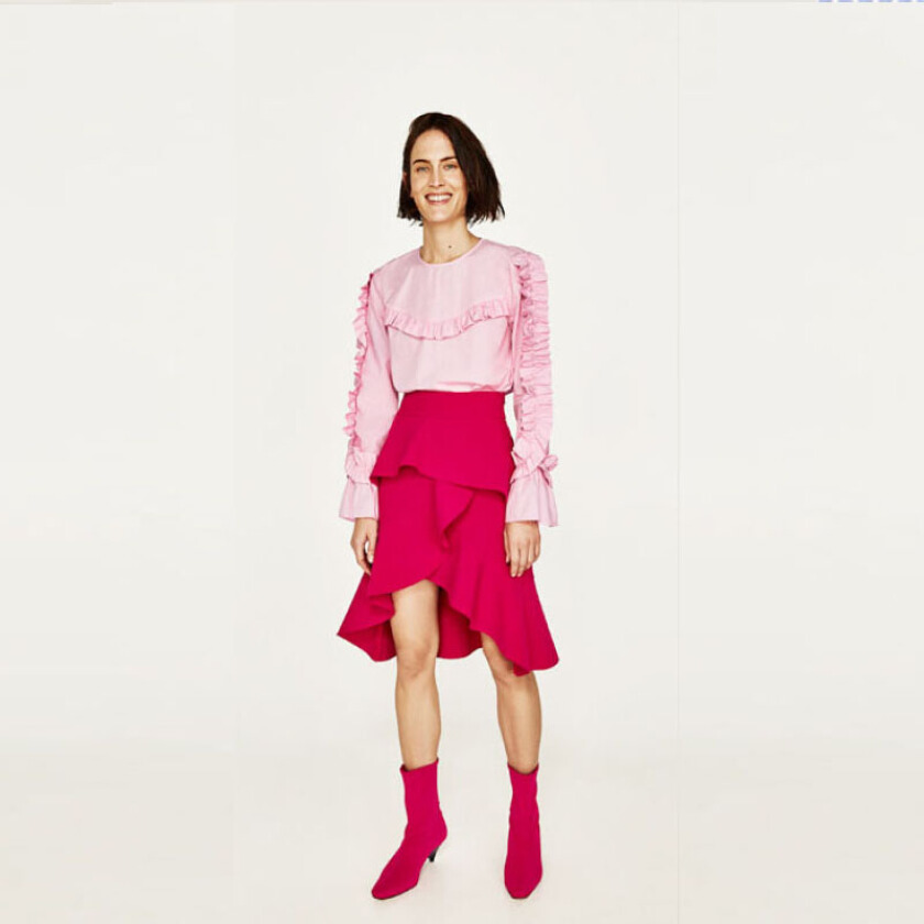 ZARA WOMEN Frilled Top - Pink [S]