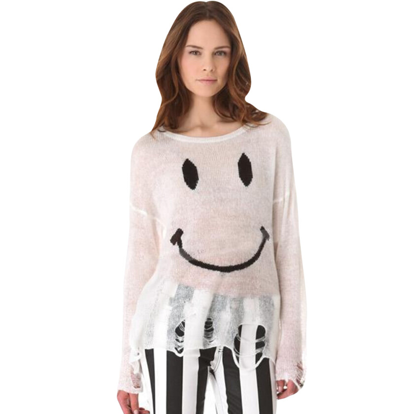 Casual Round Collar Long Sleeve Smile Face Print Hole Design Knitted Loose Sweater for Ladies