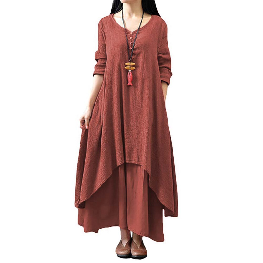 Casual Irregular Maxi Dresses Vintage Loose Long Sleeve Linen Dress