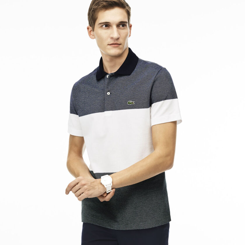 LACOSTE Men's Regular Fit Texturized Colorblock Polo in Petit Pique - Navy white green [M]