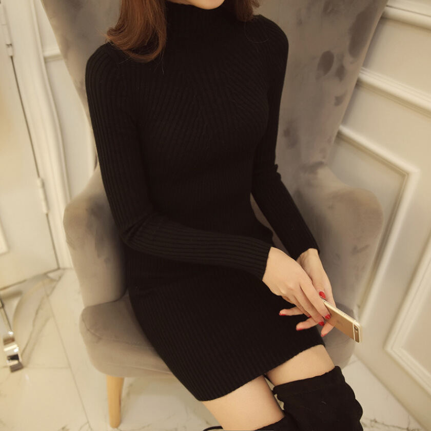Women winter turtleneck dress high elastic solid knitted  bodycon sweater dress solid color pencil dress