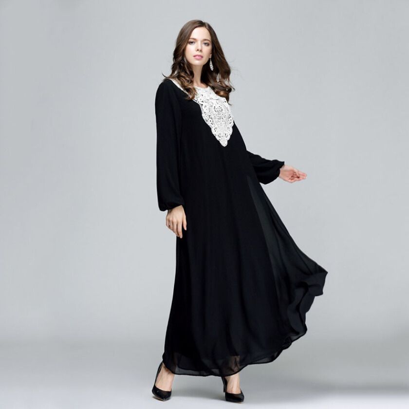 New Muslim Muslim women's national dress Long sleeved double layered loose blouse no belt dress