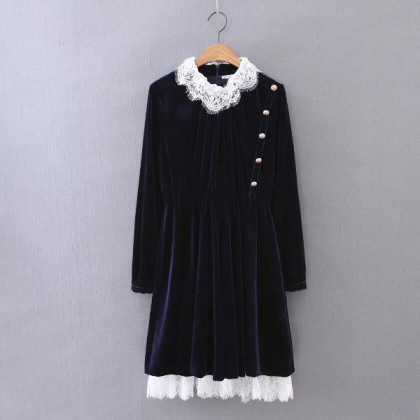 Women's Sweet Navy O-Neck Patchwork Knee-Length Long Sleeve Pleated Dress