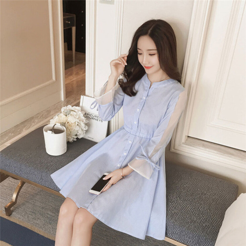 Summer New fashion Korean Like a breath of fresh air Ladies Three Quarter Sleeve Stripe dress