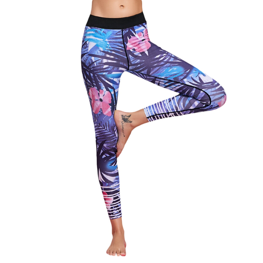 Stretchy Floral Patterned Yoga Leggings