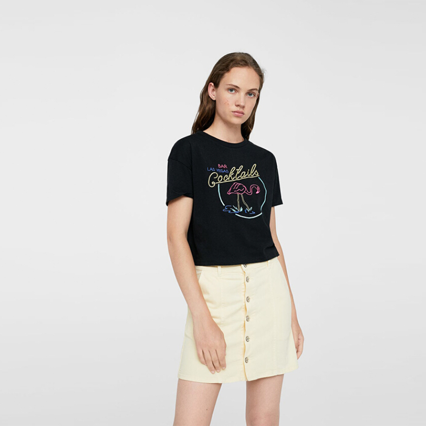 MANGO Embroidered Message T-Shirt - Black [S]