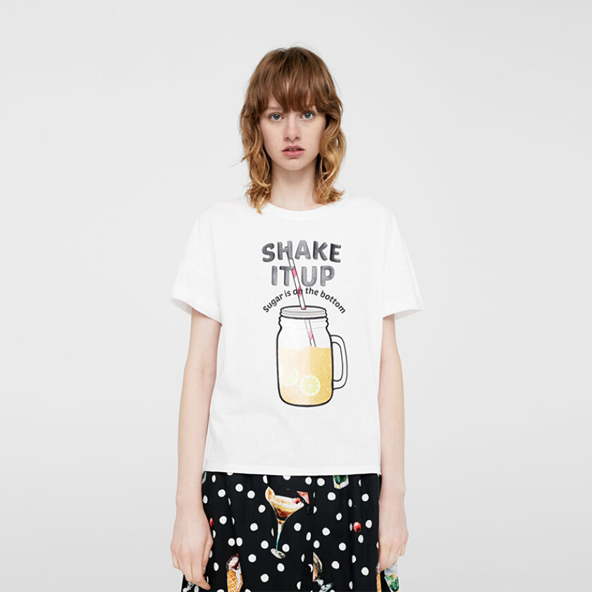 MANGO Message Cotton T-shirt - White [S]