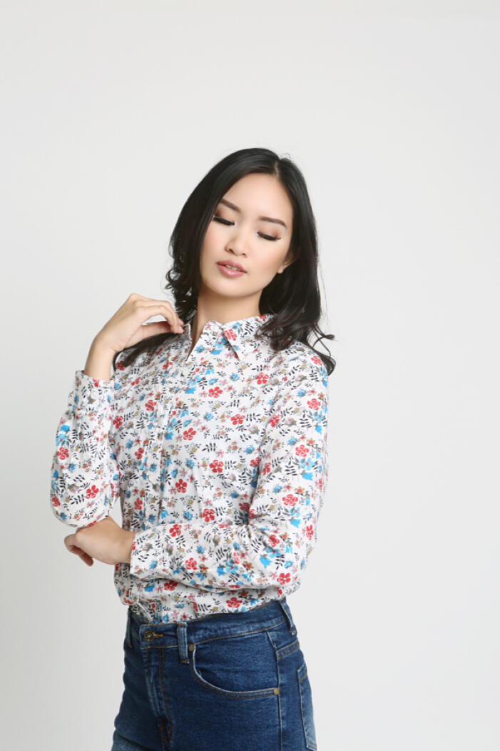 MOBILE POWER Ladies Shirt Floral - White MPL264